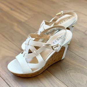 GUESS Tabatha White Cork Wedge Sandals